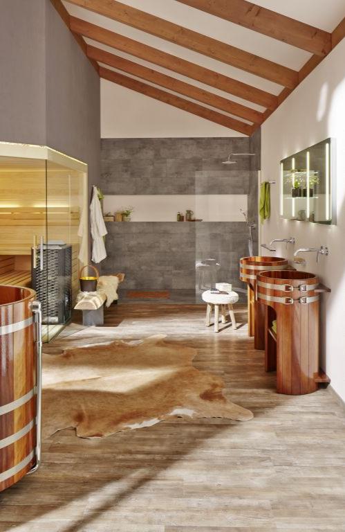 Wellnessbereich Einrichtung Massivholz Sauna