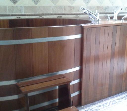 Sauna-Tauchbottich, Kambala 161x79, Nische, Verkleidung, Saunatauchbottich