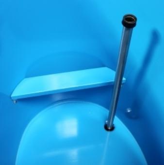 Standardausstattung, Standard-Ausstattung, blaue Hygieneversiegelung, blau hygieneversiegelt, Sauna-Tauchbottich, Bottich, Saunatauchbottich