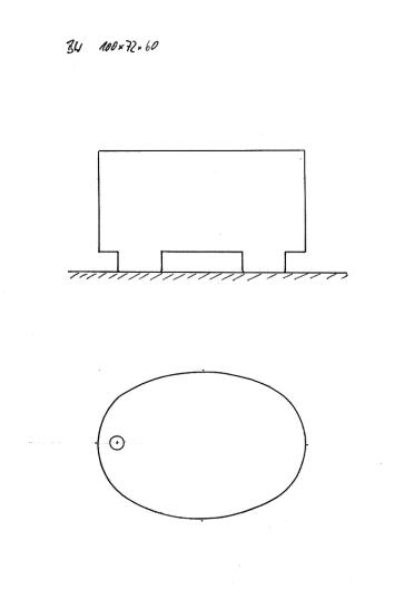 Skizze BW 100x72x60, kleine Sitzbadewanne, auf Bottichfüßen stehend.