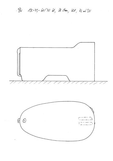 Skizze BW 135x73x60/70 mit erhöhtem Kopfende, Konturausschnitt, Überlauf Chrom und demontierbarer Rückenlehne. Prima Wanne für nicht zu große Personen.