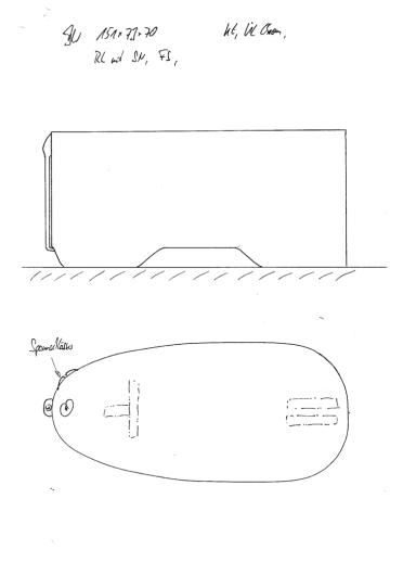Skizze BW 151x73x70 mit ringsum einheitlicher Höhe, Konturausschnitt, Überlauf Chrom, demontierbarer Rückenlehne und Fußstütze. Unsere meistverkaufte Wannengröße.