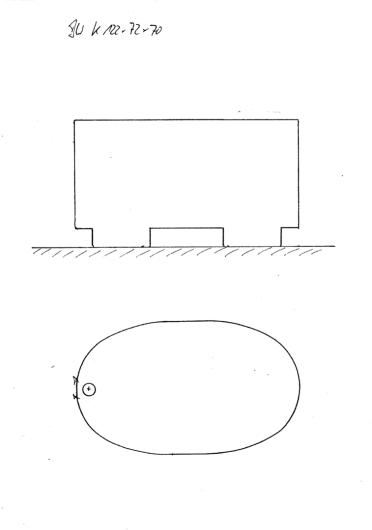 Skizze BW 122x72x70, Sitzbadewanne, auf Bottichfüßen stehend.