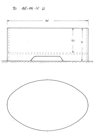 """Skizze BW 168x106x70 mit Konturausschnitt. Das """"Boot"""" mit reichlich Platz für XXL-Personen, Sumoringer und kinderreiche Familien"""
