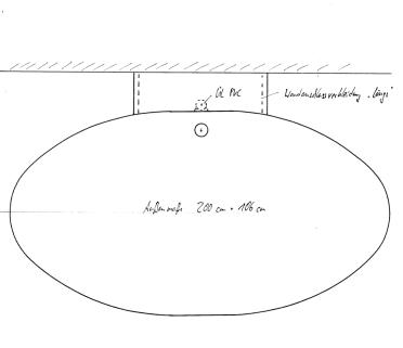 Skizze BW 200x106. Modell 168x106 um 32 cm verlängert
