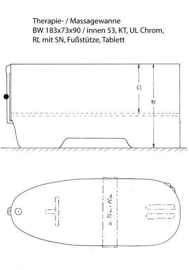Skizze BW 183x73. Wanne mit 20 cm höher eingesetztem Wannenboden und angepasster Außenhöhe. Als Therapie- und Massagewanne, Therapiewanne