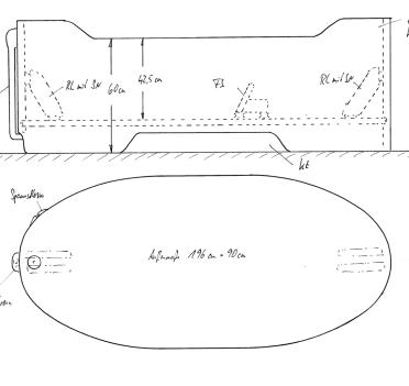 Skizze BW 196x90x70/60/70. Modell 149x90 um 47 cm verlängert. Mit Konturausschnitt, Überlaufsicherung, Kopf- und Fußende erhöht, 2 demontierbaren Rückenlehnen und Fußstütze