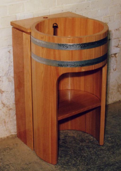 Waschtisch Lärche, Laerche, Laerchenholz, Lärchenholz, Säulenwaschtisch