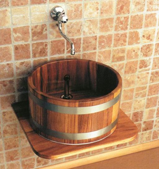 Waschtischplatte Holz, Massivholz, Waschbottich
