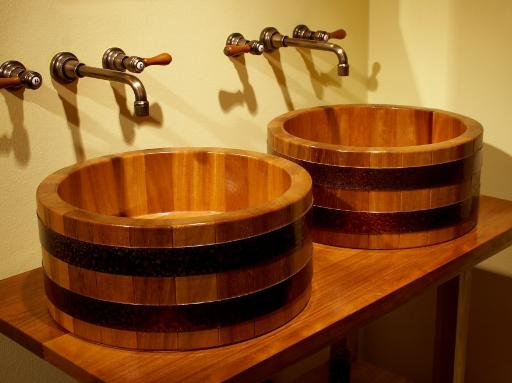 Doppelwaschtisch, Doppel-Waschtisch, Doppelwaschbecken, Doppel-Waschbecken, Holz, Massivholz, Holzwaschbecken
