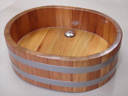 Waschbecken oval, Holzwaschtrog, Waschtrog, Waschzuber, Lavabo, wash basin
