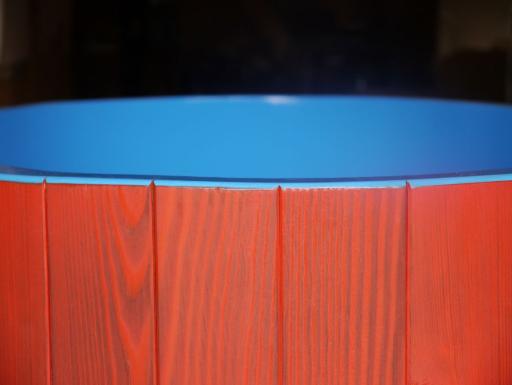 blaue Hygieneversiegelung, Osmo Dekorwachs rot lasierend