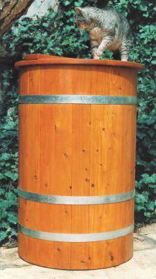 Holzregentonne, Regentonne, Holz-Regentonne, Regenfass, Regenwasserfass, Holztonne, Lärche, Ø63 cm x 100 cm, 200 Liter, innen hygieneversiegelt, außen Wetterschutzlasur