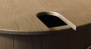 Deckel, Ausschnitt, Fallrohr, Anschluss, Holzregentonne, Regentonne, Holz-Regentonne, Regenfass, Regenwasserfass, Holztonne