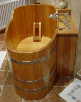 Holzbadewanne, 135x73, Holz-Badewanne, Holzwanne, Badewanne, Holzzuber, Badezuber, Badefass, Badetonne