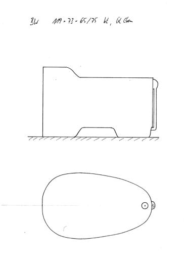 Skizze BW 119x73x65/75 mit erhöhtem Kopfende, Konturausschnitt und Überlauf Chrom. Kompakte Sitzbadewanne.