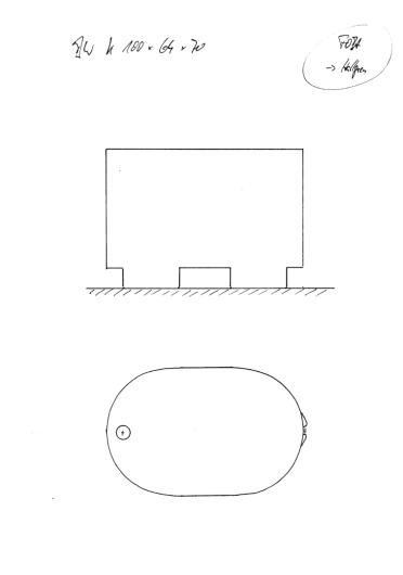Skizze BW 100x64x70. Sondermaß extra schmal. Auf 4 Füßen stehend wie unsere Saunabottiche.