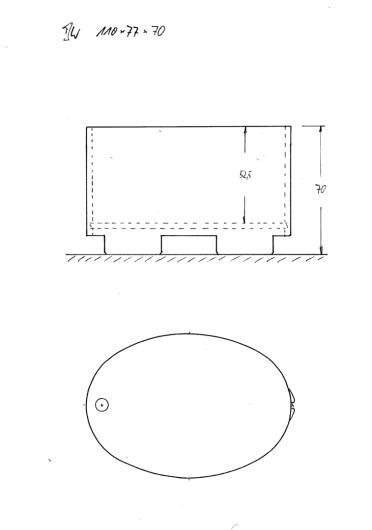 Skizze BW 110x77x70 cm. Sitzbadewanne. Je kürzer eine Wanne ist, desto mehr Innentiefe ist i.d.R. wünschenswert.