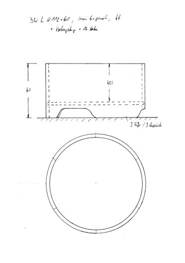 Skizze BW Ø112 cm x 60 cm. Runde Wanne, interessant als Duschwanne in Kombination mit kreisrundem Duschvorhang.