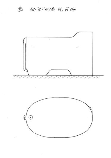 Skizze BW 122x72x70/80. Kopfende erhöht, Konturausschnitt am unteren Wannenrand, Überlaufsicherung mittig am Fußende.