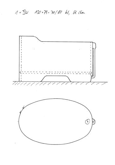 Skizze BW 130x79x70/80, symmetrische Wannenform. Mit erhöhtem Kopfende, Konturausschnitt und Überlauf Chrom.