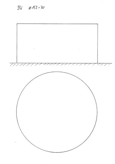Skizze BW Ø153 cm x 70 cm. Runde Badewannen sind in Bezug auf Ergonomie und Wasserverbrauch eher ungünstig