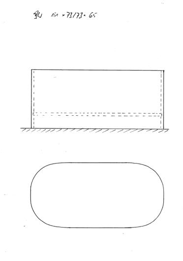 Skizze BW 151x73/73x65. Sonderanfertigung: Ausgangsmodell 151x73 (am Fußende schmaler), an beiden Enden Form Kopfende, dadurch 3 cm kürzer, auf Wunsch wieder 3 cm länger.