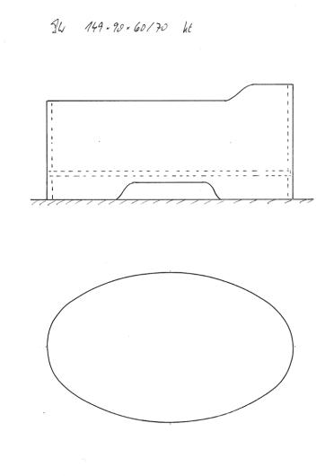 Skizze BW 149x90x60/70, symmetrische Wannenform, durchgängig oval. Mit erhöhtem Kopfende und Konturausschnitt. Schön kompaktes Modell für ein bis zwei Personen.