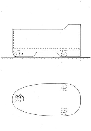 Skizze Mobile Holzbadewanne auf Rädern. Auch so etwas ist auf Wunsch möglich. Hier Modell 151x73.