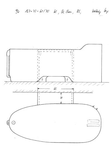 Skizze BW 167x73x60/70 mit Konturausschnitt, erhöhtem Kopfende, Überlaufsicherung, Rückenlehne und Wandanschluss-Verkleidung längs. Montage Wannenrandarmatur.