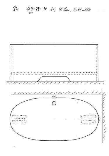 Skizze BW 169x79x70. Modell 161x79 um 8 cm verlängert.