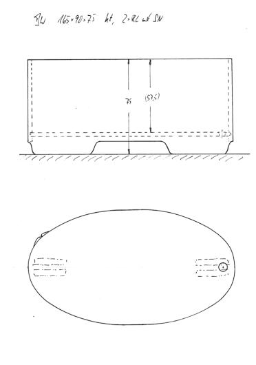 Skizze BW 165x90x75. Modell 149x90 um 16 cm verlängert. Konturausschnitte an den Längsseiten und ergänzend auch an Kopf- und Fußende.