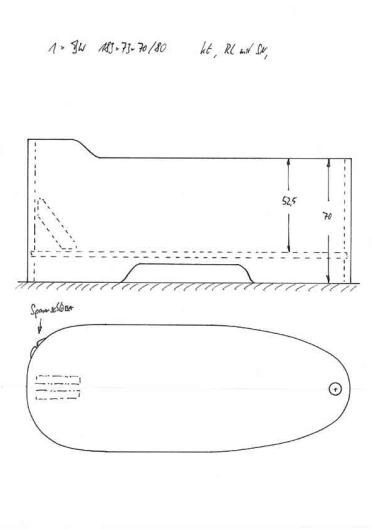 Skizze BW 183x73x70/80 extra lange Badewanne, XXL, Überlänge Wanne, Holzbadewanne, groß gewachsen